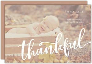 Thankful Script Photo Birth Announcement