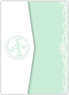 Whimsical Mint Babys Breath Pocketfold Wedding Invitation