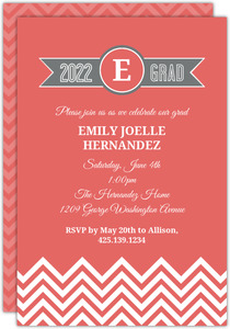 Coral Chevron Pocketfold Graduation Enclosure Card