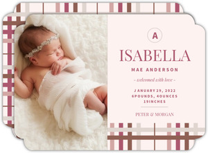 Sophisticated Pink and Brown Girl Baby Announcement