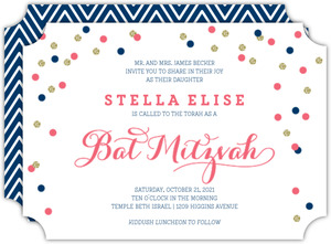 Pink and Navy Confetti Bat Mitzvah Invitation