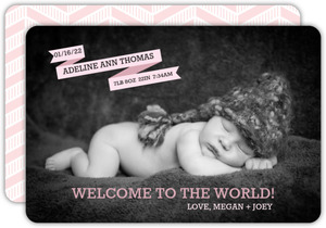 Pink Banner Birth Announcement