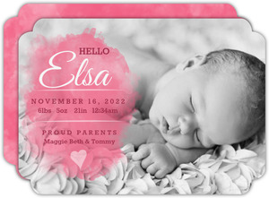 Pink Watercolor Girl Photo Baby Announcement