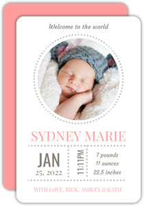 Pink and Gray Photo Girl Baby Announcement