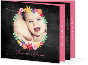 Floral Chalkboard Baby Announcement Booklet