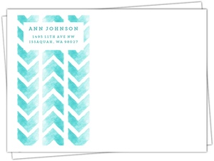Aqua Watercolor Chevron Custom Envelope