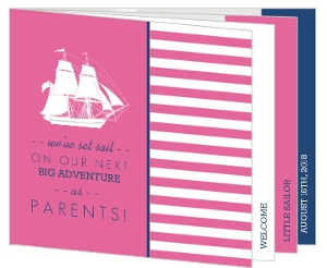 Nautical Girl Birth Announcement Booklet