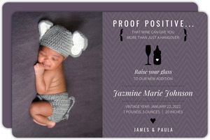 Black and Purple Raise Your Glass Funny Birth Announcement