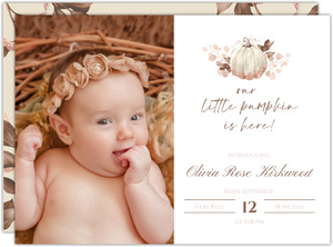 Faux Glitter Autumn Leaves Birth Announcement
