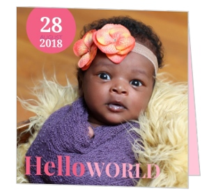 Pink and Purple Hello World Photo Girl Baby Announcements
