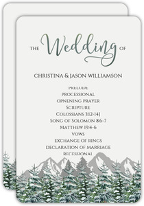 Snow Fir Trees Wedding Program