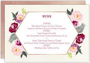 Boho Floral Wedding Menu Card