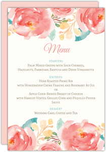 Pink Elegant Watercolor Flower Wedding Menu Card