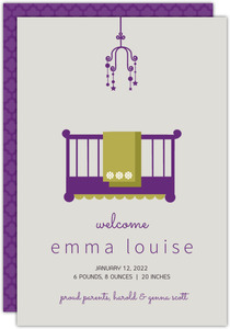 Elegant Purple Crib Girl Baby Announcement