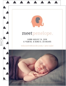Modern Coral Elephant Birth Announcement