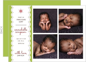 Precious Gift Baby s First Christmas Photo Card