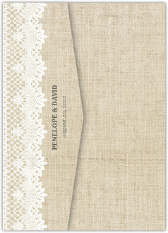 Vintage Burlap Lace Pocketfold Wedding Invitation