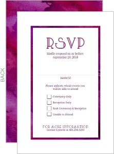 Purple Watercolor Bat Mitzvah Response Card