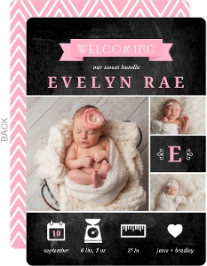 BabyGram Pink Girl Baby Announcement