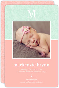 Pink and Green Letter Photo Girl Baby Announcement