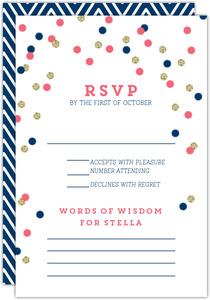 Pink and Navy Confetti Bat Mitzvah Response Card