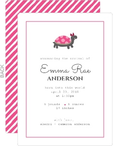 Pink Turtle Girl Baby Announcement