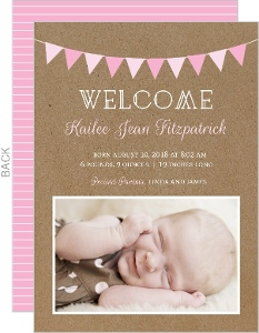 Pink Flags and Stripes  Baby Announcements