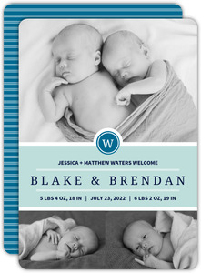 Simple Blue Photo Boy Twins Announcements