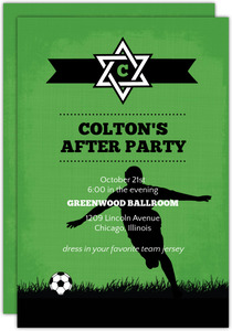 Green and Black Soccer Bar Mitzvah Enclosure Card