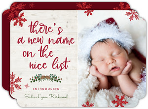 New Name On List Christmas Birth Announcement