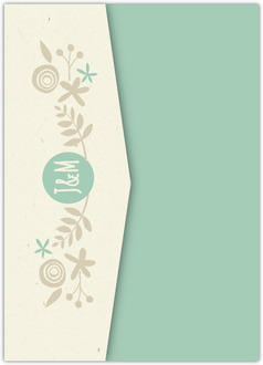 Rustic Mint and Kraft Pocketfold Wedding Invitation