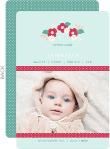 Light Blue Whimsical Florals Birth Announcement