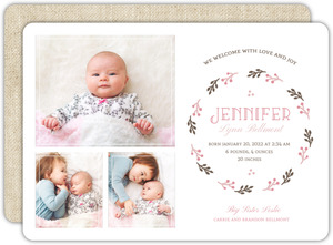 Brown Linen with Pink Sibling Baby Announcement