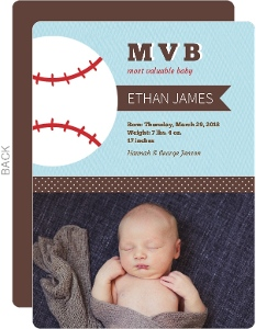 Blue and Brown Baseball Birth Announcement