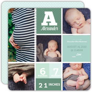 Green Checkered Photo Boxes Birth Announcement