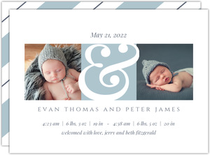 Twin Arrival Blue Photo Birth Announcement