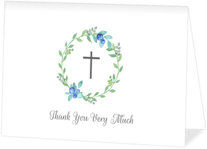 Watercolor Wreath Photo Baptism Thank You Card