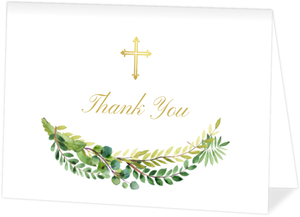 Green Watercolor and Faux Gold Baptism Thank You Card
