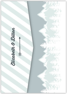 Whimsical Winter Mountains Pocketfold Wedding Invitation