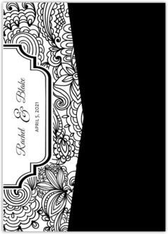 Black and White Lace Pocketfold Wedding Invite