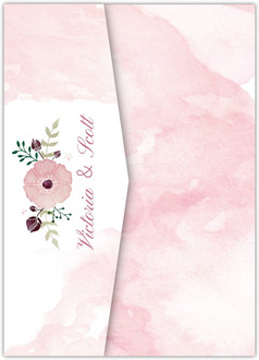 Delicate Pink Watercolor Pocketfold Wedding Invitation