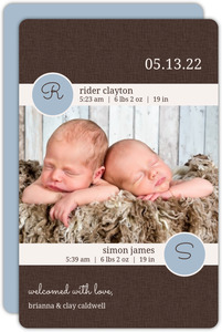 Brown Linen Boy Twins Birth Announcement