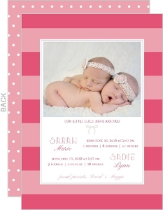 Beautiful Pink Twins Announcement Card