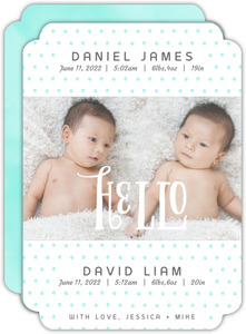 Blue Dots Twin Announcement Card