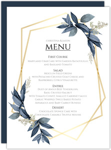 Geometric Frame Navy Leaves Wedding Menu