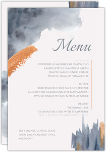 Modern Grey Watercolor Wedding Menu