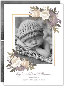 Pumpkin Autumn Floral Birth Announcement