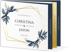 Geometric Frame Navy Leaves Wedding Booklet Invitation
