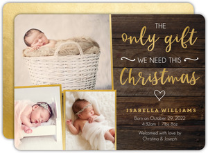 The Only Gift Christmas Birth Announcements