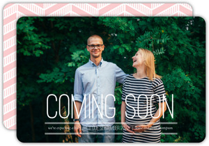 Pink Chevron Photo Pregnancy Announcement
